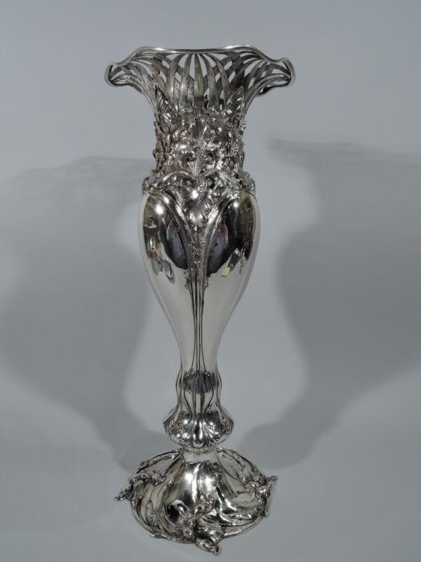 Antique Vase - 4213 - Tall Art Nouveau Iris Flowers   American Sterling Silver