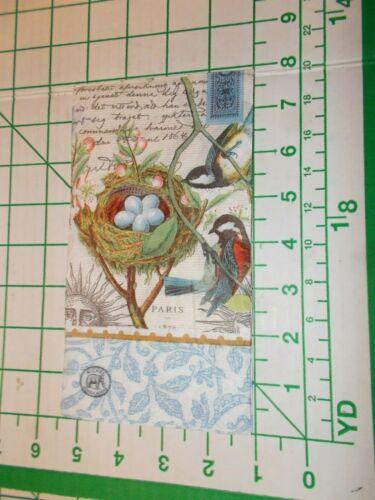 "Two Decorative Hostess Napkins for Decoupage ""Bird Nest"""