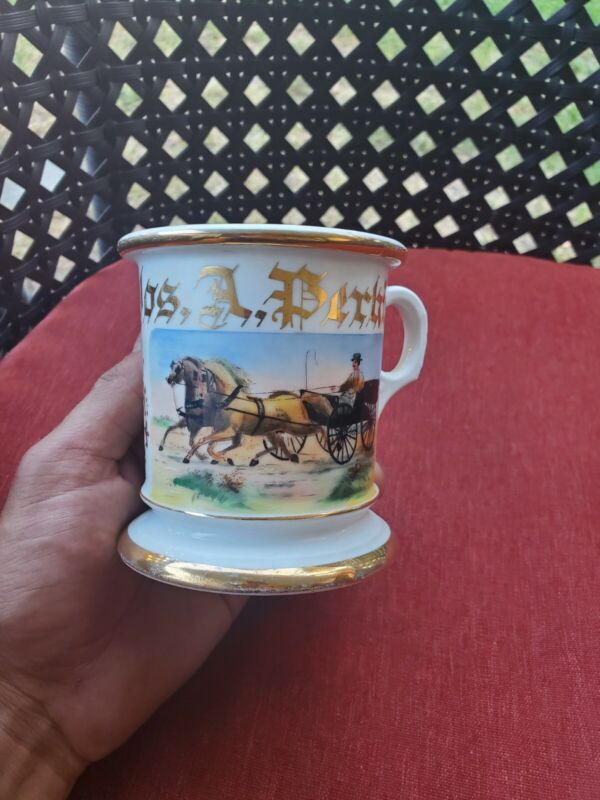 ANTIQUE GERMANY HORSES WITH BUGGY SHAVING MUG IN PRE OWNED CONDITION