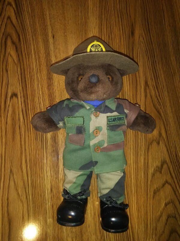 "Vintage 1989 Bear Forces of America 11"" Dark Brown US Air Force Teddy Plush"