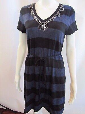 Lavish By Heidi Klum Blue and Black Jeweled Neckline Maternity Sweater Top Sz M