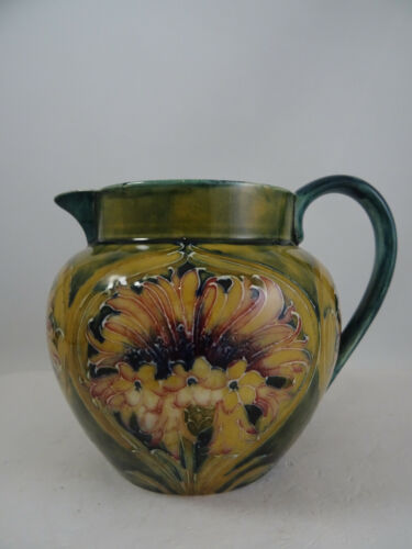 Lovely Early William Moorcroft Pottery Chrysanthemum Cornflower Pitcher England