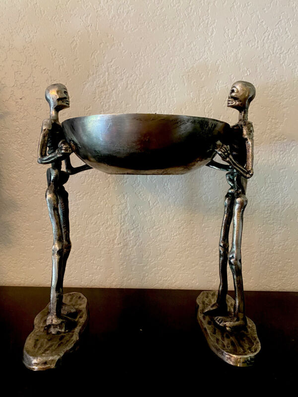 """Silver Metal Skeletons Holding Bowl 15.5"""" Tall Halloween Haunted House Serving"""