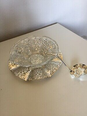 The Jewellers Collection Silver Plated Party Dish w/Spoon And Glass Bowl