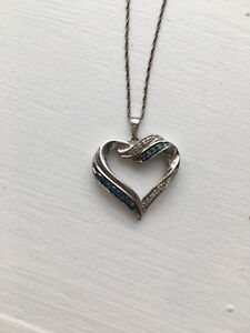 Sterling silver blue heart necklace