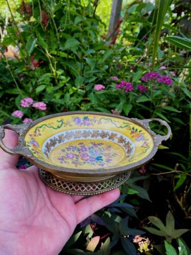 Chinese Bronze Brass Ormolu Mounts Porcelain Basket Bowl FREE SHIPPING