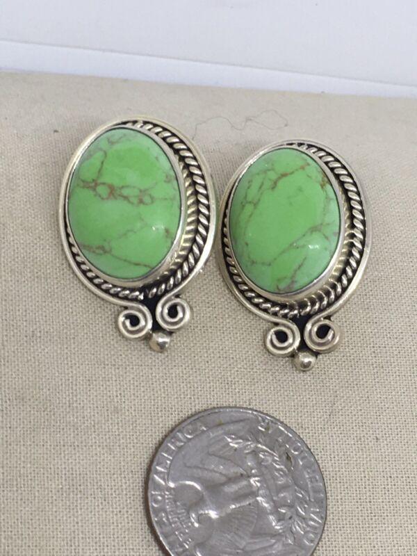 Vintage Sterling Silver Green Apple Turquoise Earrings TV-41 20g 11-14