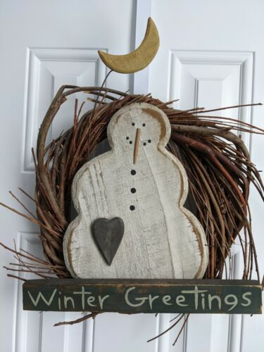 Primitive Country Rustic Wood Snowman Twig Christmas Holiday Wreath Ornament EUC