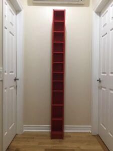 Ikea CD shelving unit, red.
