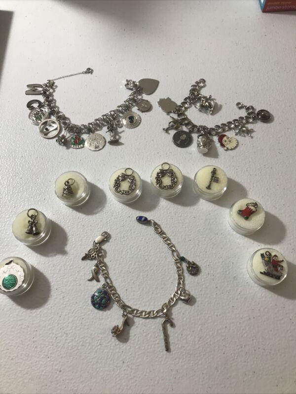 Vintage Sterling Silver Resale/wear Lot 32 Charms,(13 Christmas)3 Bracelets. S1
