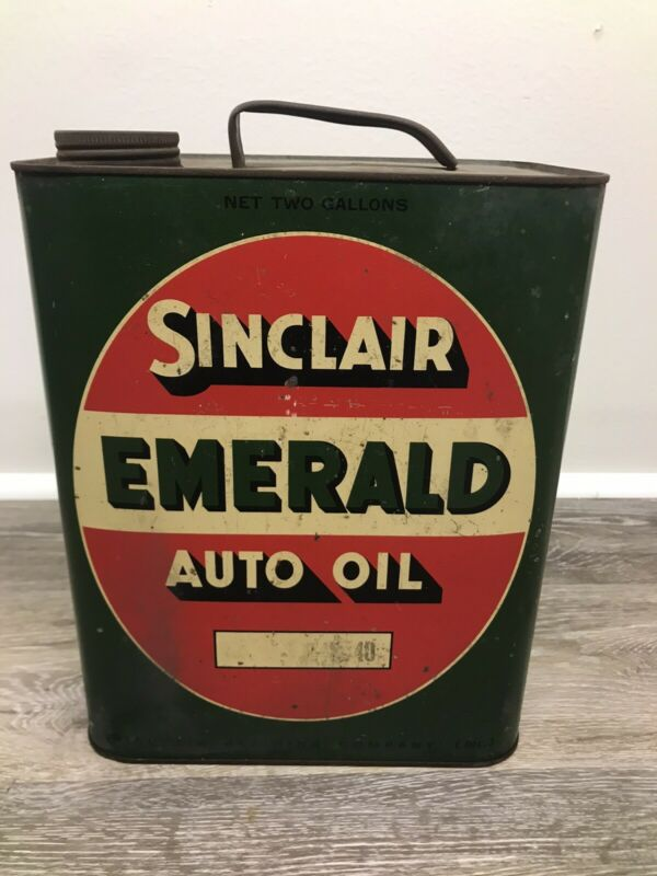 Vintage  Sinclair Emerald Oil Can 2 Gal Gas Sign Pump Advertising