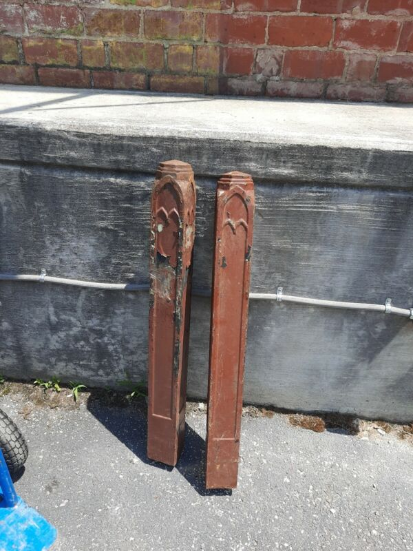 2 Architectural Antique Salvage Heavy Cast Iron Newel Post Arts & Crafts Mission