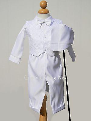New Baby Boys Infant Christening Baptism White Outfit Set Dedication w/ Hat SB - Christening Hat