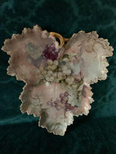 Antique Limoges  Hand Painted Leaf Platter