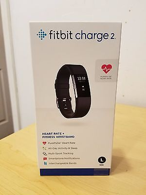 Fitbit Charge 2 Heart Rate & Activity Tracker SIZE LARGE BLACK COLOR