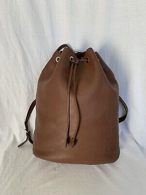 GUCCI Soho Authentic Brown Leather Drawstring Backpack Bag Made in Italy