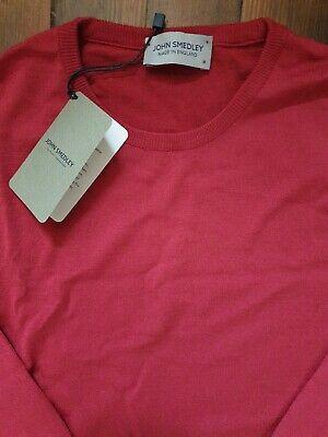 JOHN SMEDLEY LUNDY Mens 100% Merino Wool Size Medium Red Pullover BNWT RRP £165