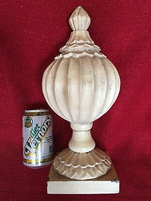 Vintage Large Hard Wood Newel Post Painted Finial Ornate Architecture Salvage