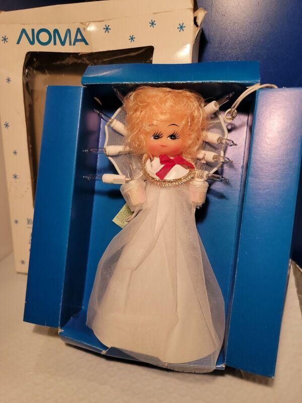 Vtg NOMA Christmas Angel Tree Topper 10 Light Working Original Box White Gown