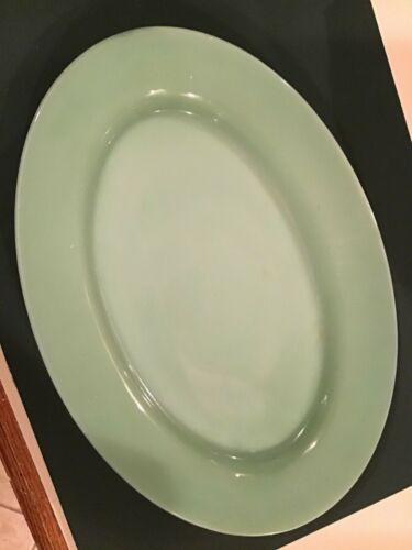 """Vintage Jadite green glass 11.5"""" oval Fire King Platter"""