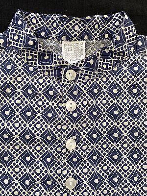 La Bottega Di Giorgia NWT Blue Print 100% Woven Cotton Band Collar Shirt -3T