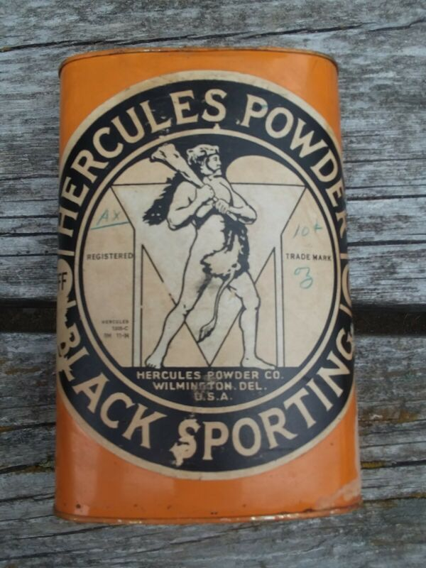 Antique Hercules Powder Black Sporting  Gunpowder Tin  EMPTY