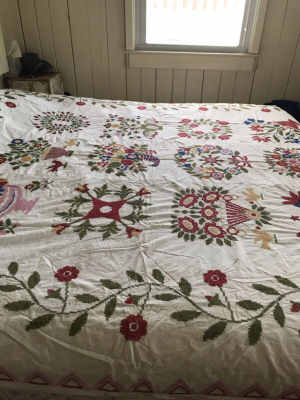 Vintage Colorful Fancy Embroidered Album Quilt Top Paragon Full Flowers & Urns