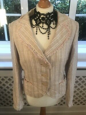 Fab Ladies Next Baby Pink Check Lined Linen Mix Jacket UK Size - Baby Pink Lady Jacket