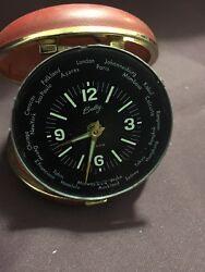 Vtg 50S 60 Elgin Bradley.Clam Shell World Time Travel.Alarm Clock. made in japan