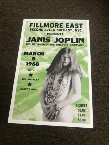 "Janis Joplin 1968 Fillmore East Cardstock Concert Poster 12"" x 18"""