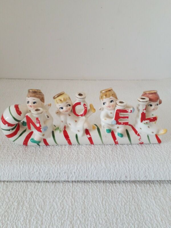 Vintage Christmas Relco NOEL Candy Cane Kids on Sled 1950s Japan GLUED PIECE