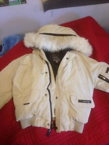 Girl's Small Used Tan Canada Goose Winter Jacket AUTHENTIC