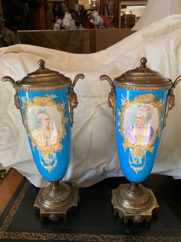 Antique  pair sevres style lidded hand painted porcelain urn