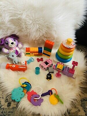 INFANT TOYS  lot used Violet Sing&snuggle Works With Batteries, And Blocks