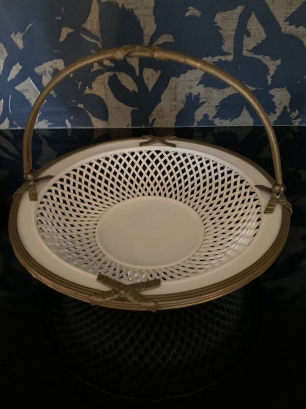 Vintage Round Reticulated Porcelain Basket/bowl with 0rmolu Handle and Top Frame