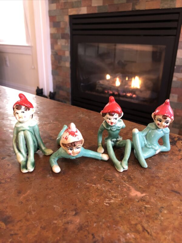 Vintage 50's Green Ceramic Christmas Pixie Elves Red Hats (4 Lot) Made in Japan
