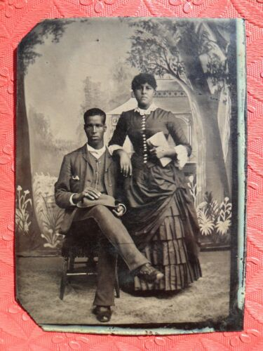 African American Tintype 1/6 Plate Young Black Couple Woman Dress Man Hat 1800