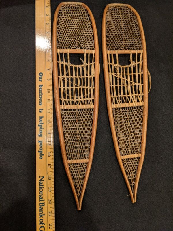 Native American Miniature Snowshoes / Rawhide / Doll Size - Awesome!