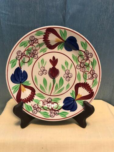 """Antique Petrus Regout Maastricht Holland Spongeware Floral Plate 8.75"""" 1880-1890"""