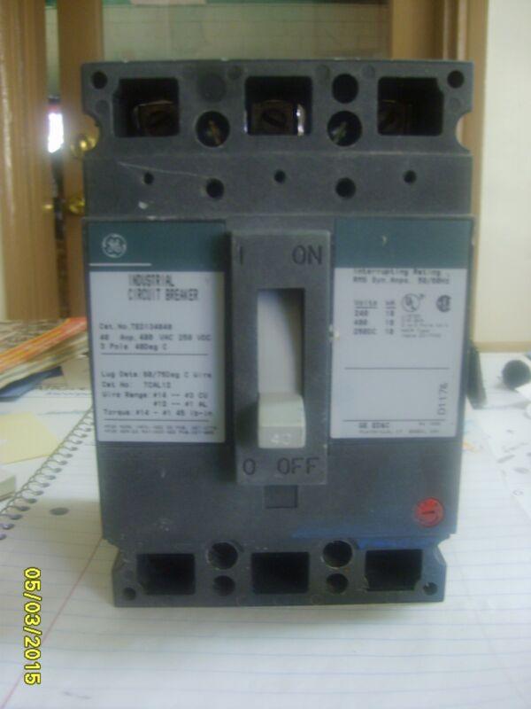 GE Industrial Circuit Breaker 3 pole TED134040 480 VAC, 40 amp