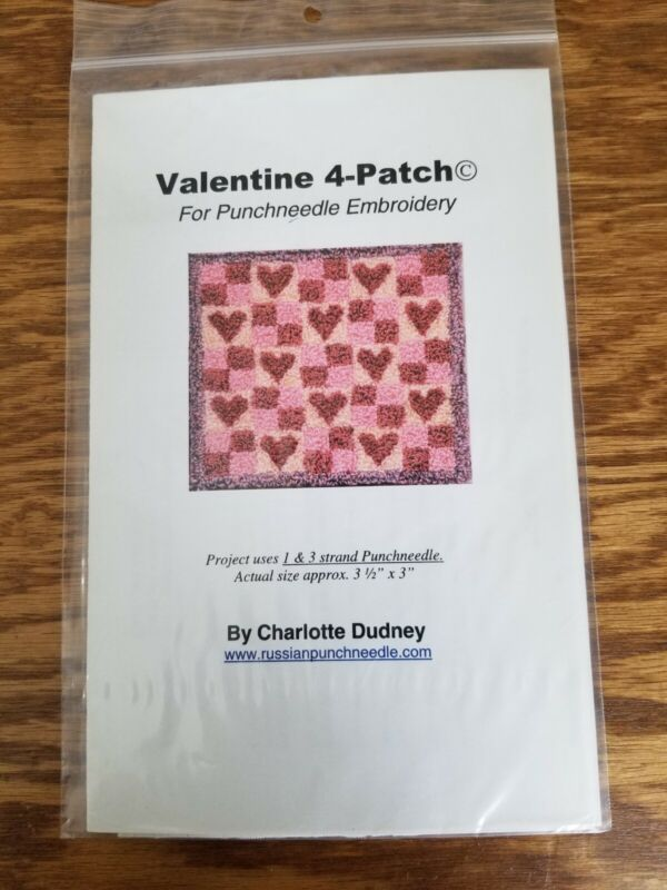 PUNCH NEEDLE PATTERN ~ Valentine 4-Patch Charlotte Dudney