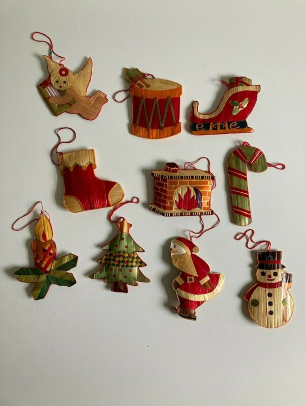 Lot of 10 Vintage Straw Christmas Ornaments