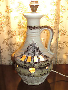 01c22 ancien pied de lampe c ramique ajouree vintage 1970 west germany fat lava ebay. Black Bedroom Furniture Sets. Home Design Ideas