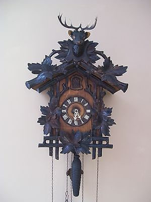 Antique Carved Black Forest Large Cuckoo Clock