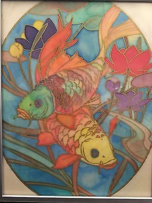 Colourful Carp Fish Picture on Fabric - Framed