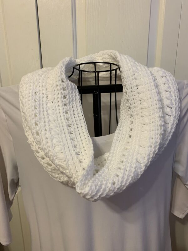 Handmade Crochet Infinity Cowl Scarf In White.