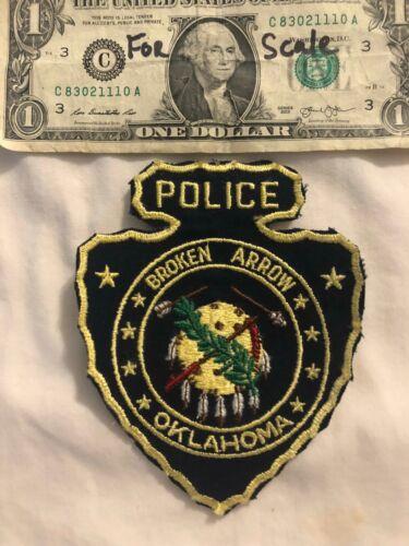 Vintage Broken Arrow Oklahoma Police Patch un-sewn State of Oklahoma Patches