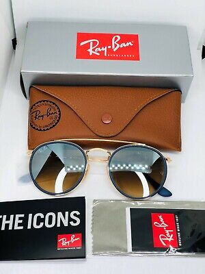 Ray Ban RB3647 Round Double Bridge Gold Frame Silver Mirror Gradient Lens 51mm