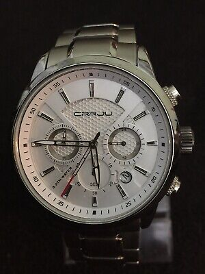 CRRJO, Chronograph Date Men's Watch Beautiful Design Face, Stainless steel,43mm