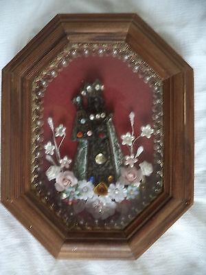 wunderschöne Klosterarbeit  - schwarze Madonna - brauner Rahmen